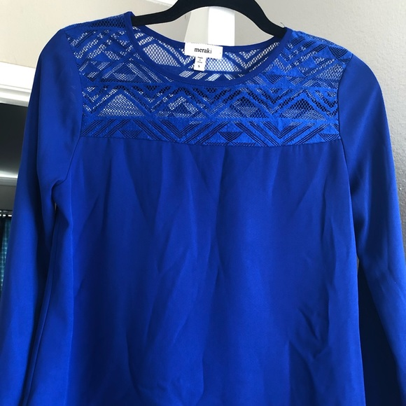 bf59794d2dff7 meraki Tops   Royal Blue Lace Yoke Blouse Euc   Poshmark